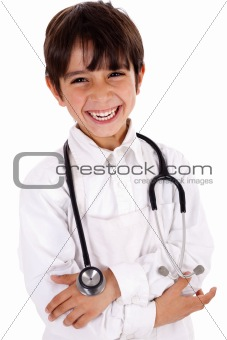 Little cacasian boy wearing doctor coat