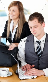 Smiling business woman with her husband