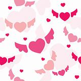 Seamless background with flying hearts