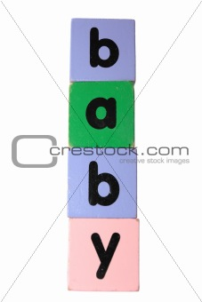 baby in toy play block letters with clipping path on white