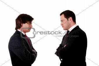 two businessman standing face to face