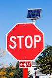 STOP sign powered by a solar battery