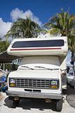 RV parked under palms
