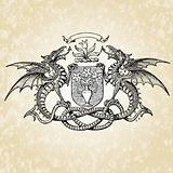 Vector Dragon and Shield Illustration