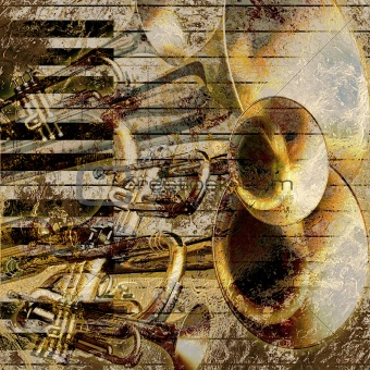 abstract musical background trumpet and piano
