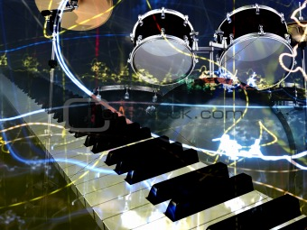 abstract musical background piano and drums
