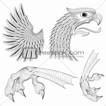 Vector Eagle Ornaments Set