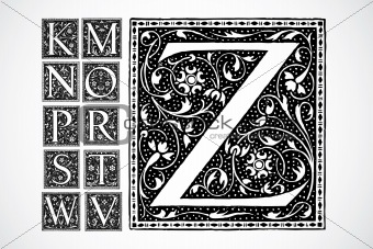 Vector Ornate Alphabet K-Z