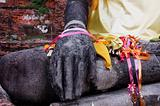Stone hand of buddha in Wat Mahathat Thailand