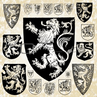 Vector Set of Medieval Crests and Shields