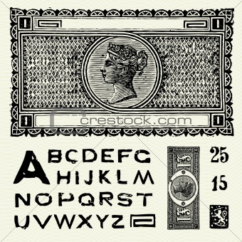 Vector Old World Currency and Font