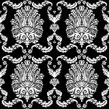 Vector Black Damask and Ribbon Pattern