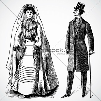 Vector Vintage Bride and Groom