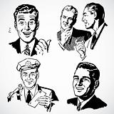 Vector Vintage Men Talking and Pointing