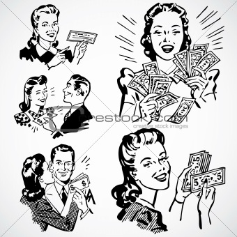 Vector Vintage Money and Couples