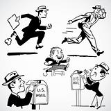 Vector Vintage Running Businessmen