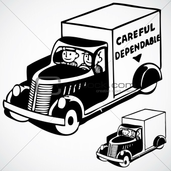 Vector Vintage Delivery Truck