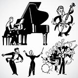 Vector Vintage Musicians and Instruments