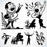 Vector Vintage Musicians