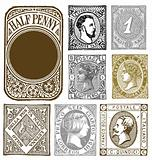 Vector Set of Retro Distressed Stamps