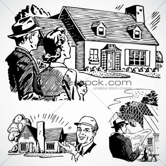 Vector Vintage Home for Sale