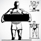Vector Vintage Strong Men