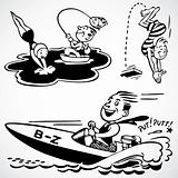 Vector Vintage Fishing and Swimming