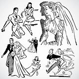 Vector Vintage Brides and Grooms