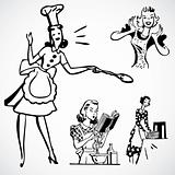 Vector Vintage Women Cooking
