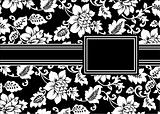 Vector Black Floral Ribbon Frame