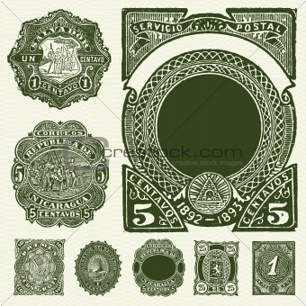 Vector Set of Vintage Spanish Stamps