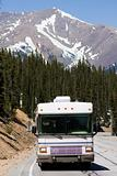 RV driving the mountains