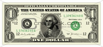Vector One Dollar Bill