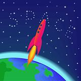 Rocket flying into space