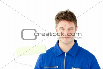 Good-looking male worker smiling at the camera