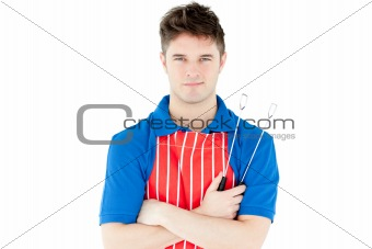 Animated man holding cookware looking at the camera