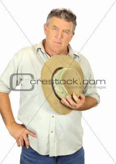 Man Holding Hat