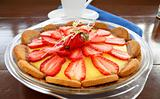 Strawberry Custard Biscuit Tart