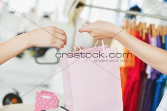 A saleswoman giving a shopping bag to a customer