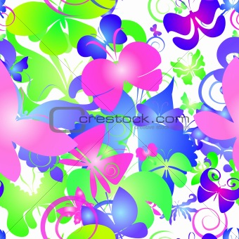Bright seamless background with butterfly