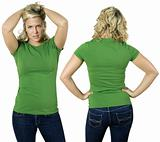 Blond female with blank green shirt