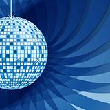 Disco ball blue on abstract background