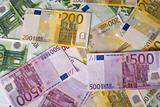 Close-up of 100, 200 and 500 Euro banknotes money. 