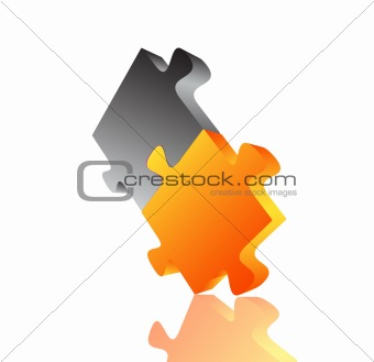 Abstract 3D puzzle design element . Vector
