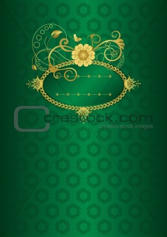 Green and gold floral card