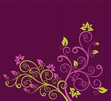 Green and purple floral vector
