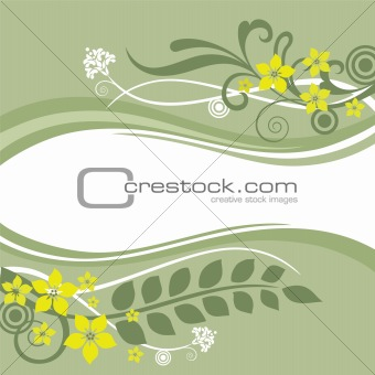 Green and yellow floral borders