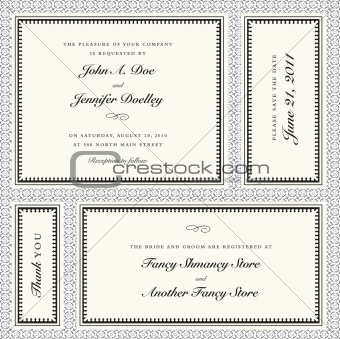Vector Invitation Frame Set with Sample Text