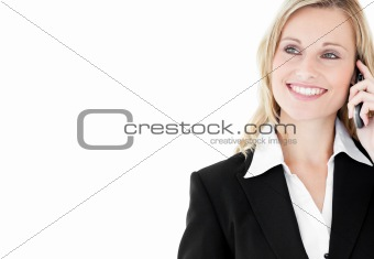 Smiling  caucasian businesswoman talking on phone