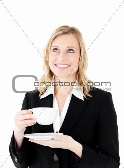 Charismatic businesswoman holding a cup of coffee